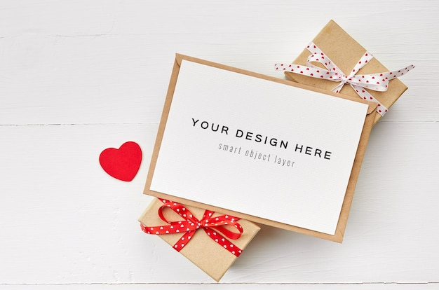 Valentines day card mockup with red heart and gift boxes