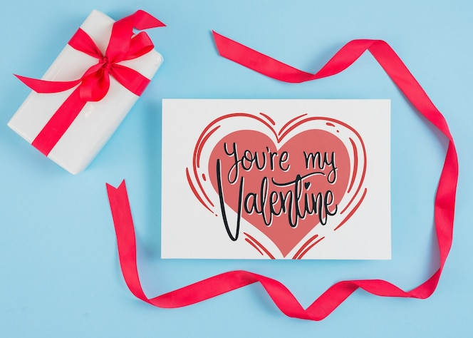 Valentines day card mockup with ribbon