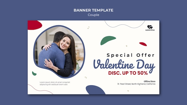 Valentines day couple banner template