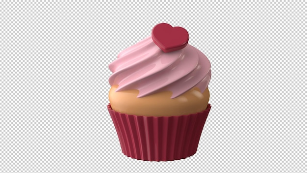 Valentines day dessert ccake with red heart in 3d illustration