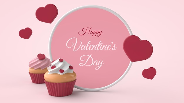 Valentines day dessert cupcakes with red hearts in 3d illustration
