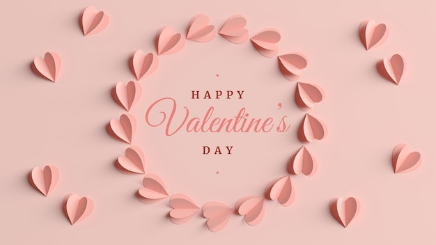 Valentines day elegant greeting card in 3d rendering