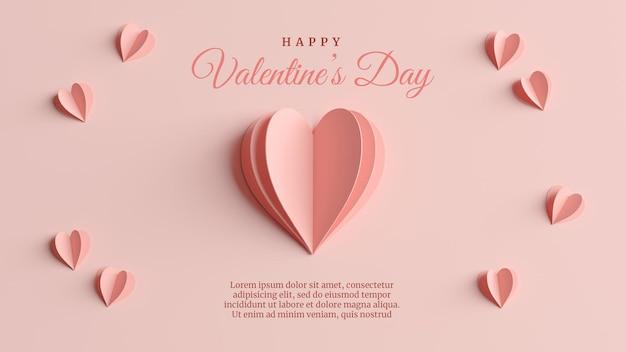 3dレンダリングでバレンタインデーのエレガントなグリーティングカード
