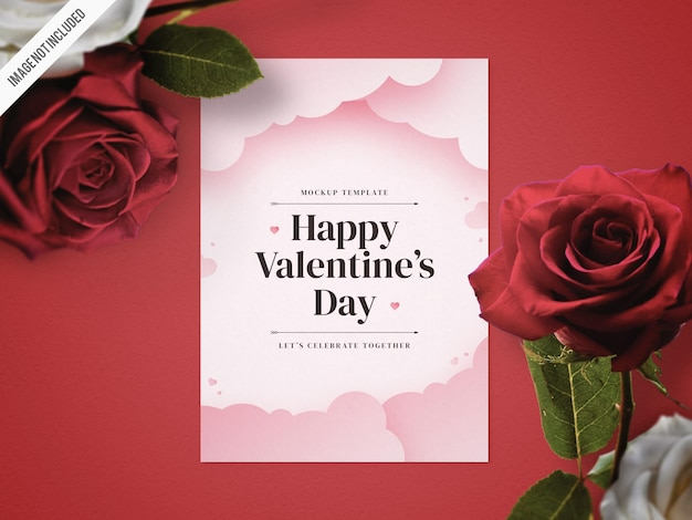 Valentines day flyer mockup