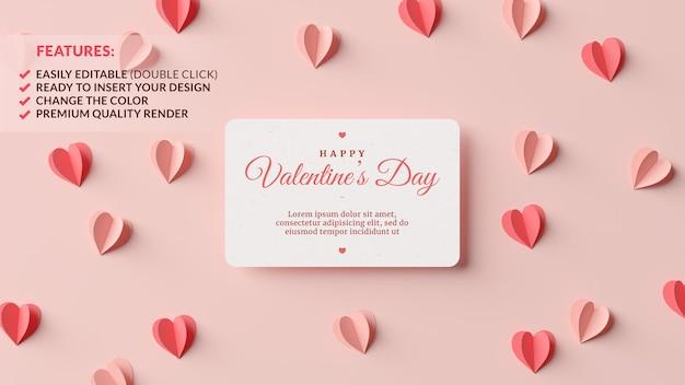 3dレンダリングでピンクと赤の紙のハートとバレンタインデーのグリーティングカードのモックアップ