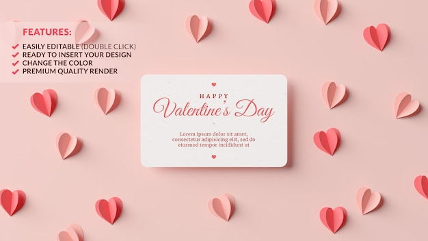 Valentines day greeting card mockup with pink and red paper hearts in 3d rendering