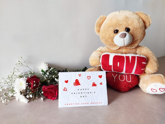 Valentines day greeting card mockup with teddy