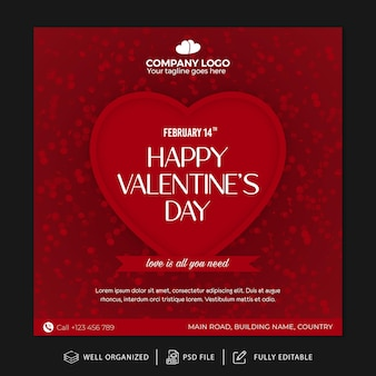 Valentines day instagram post template and banner template