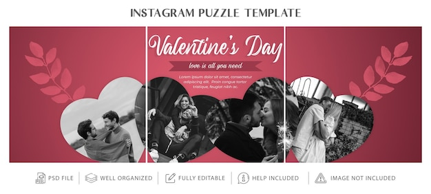 Valentines day instagram puzzle or collage or grid template