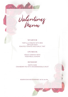 Valentines day menu mockup