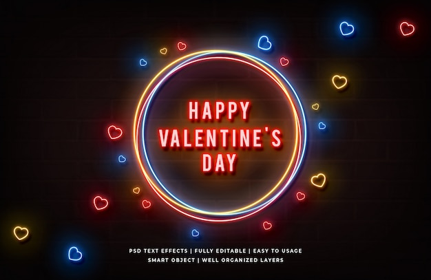 Valentines day neon light 3d text style effect