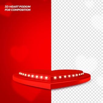 Valentines day podium concept 3d render