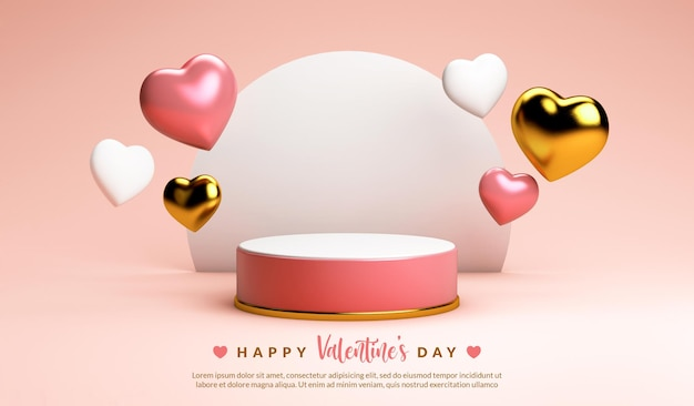 Valentines day podium surrounded by floating hearts in 3d rendering