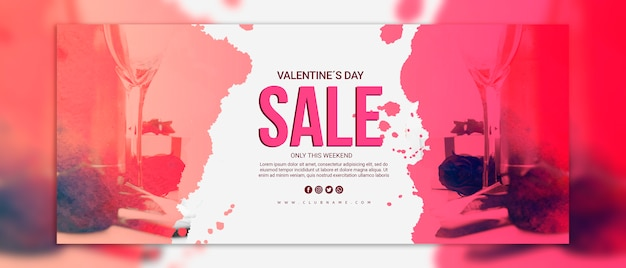 Valentines day sale banners mockup