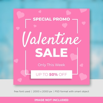Valentines day sales social media banner template