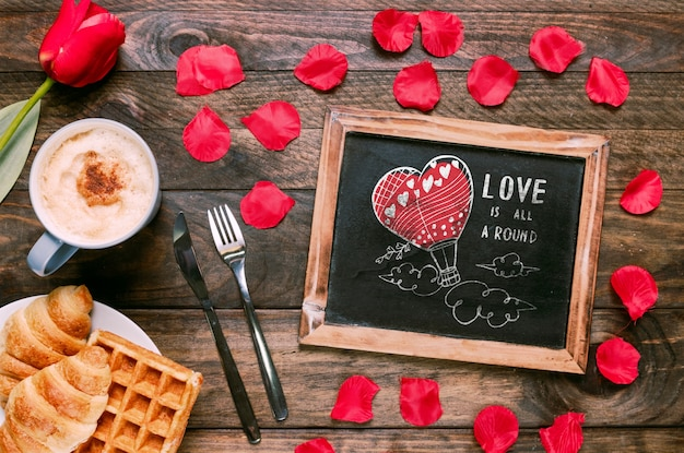 Valentines day slate mockup with breakfast