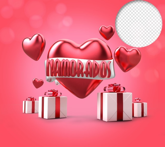 Valentines day with gift box, red 3d text with ribbon and heart.