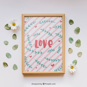 Valentines frame and elements mockup