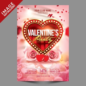 Valentines party flyer psd template