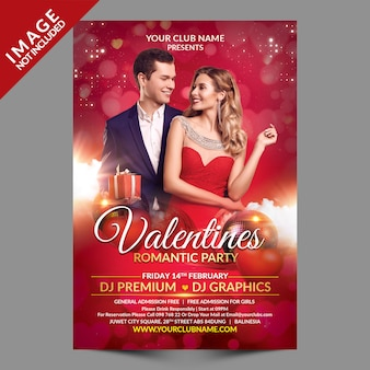 Valentines romantic party flyer premium template