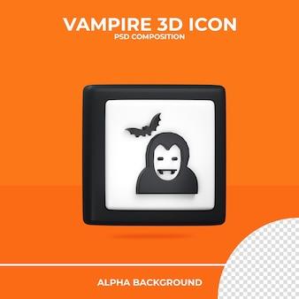 Вампир 3d рендеринг значок хэллоуин premium psd