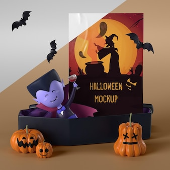Vampire in coffin next to halloween card