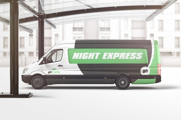 Van vehicle branding mockup