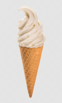 Vanilla ice cream in the crunchy cone