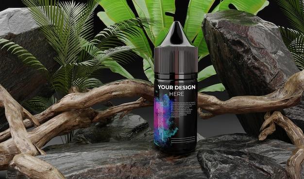 Vape liquid bottle dropper mockup on nature
