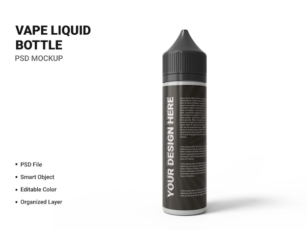 Vape liquid bottle mockup design isolated