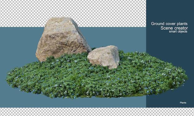 Varieties of rocks in the shrub garden