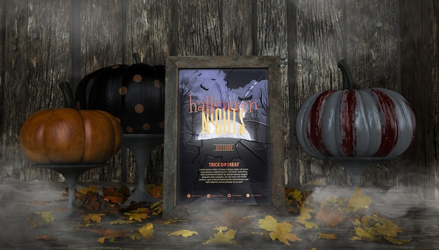 Variety of colourful pumpkins and halloween nights frame mock-up