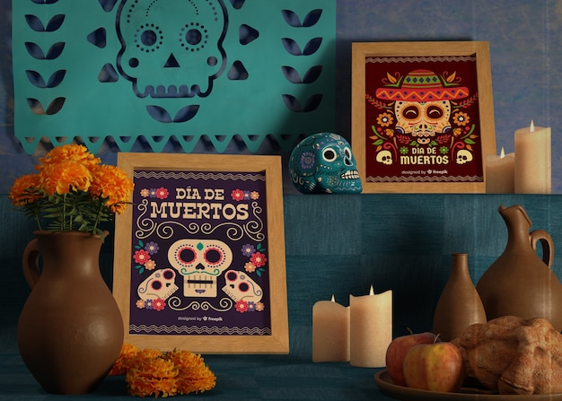 Variety of colours and designs for dia de muertos mock-ups