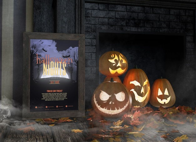 Variety of funny carved pumpkin faces and halloween nights frame mock-up