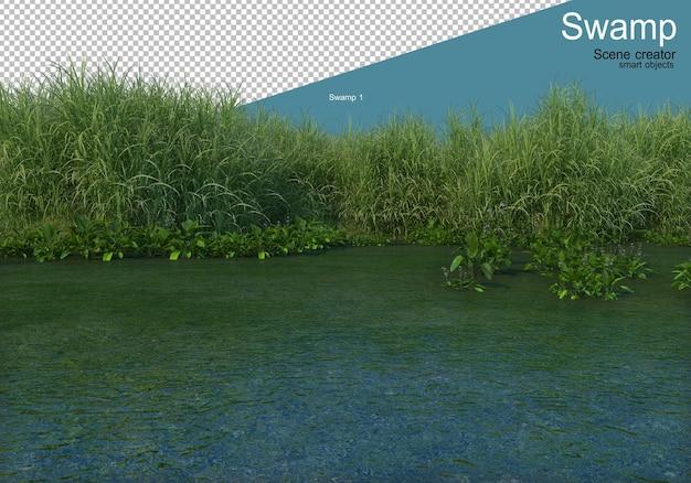 沼の端にあるさまざまな植物