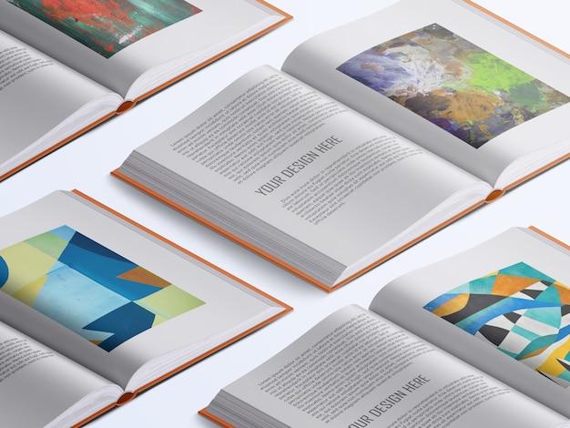 さまざまな現実的な高角度の開いた本のページのモックアップ