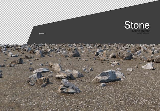 地上のさまざまな岩層