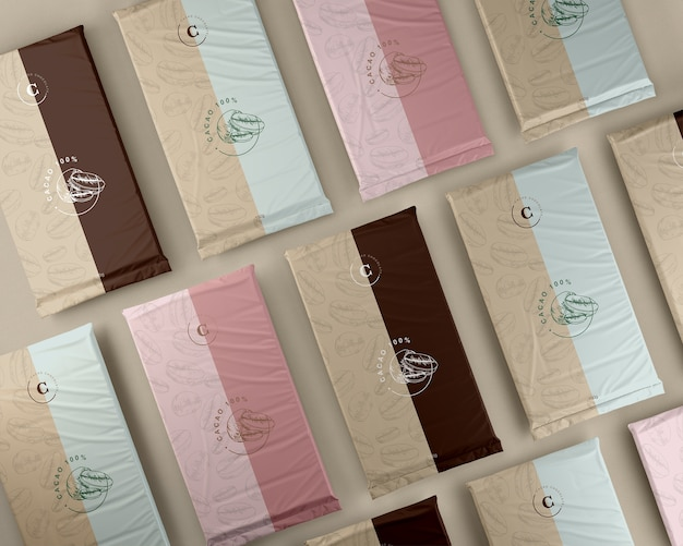 Variety of plastic packaging for chocolate