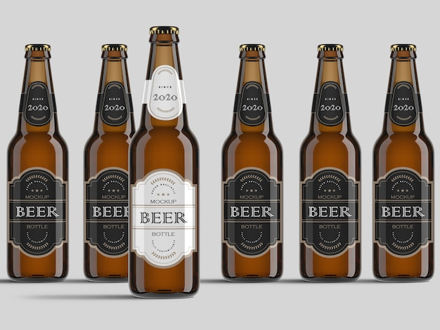 Variety of realistic front view beer bottles mockup template