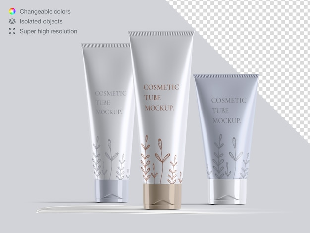 Variety of realistic glossy front view cosmetic cream tubes packaging mockup