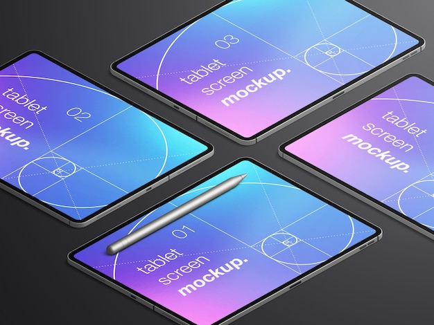 Variety of realistic isometric tablet device screens mockup with stylus pencil