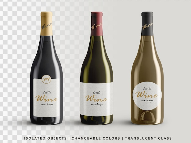Variety of wine bottles packaging mockup front view isolated