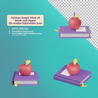 Various angle view apple and book 3d render education icon