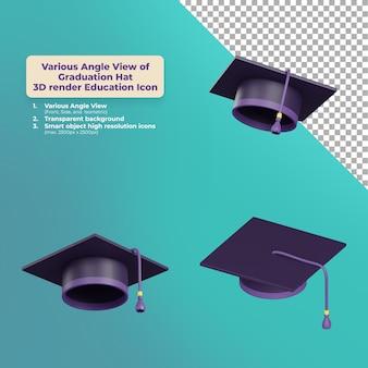 さまざまな角度ビュー卒業帽子3dレンダリング教育アイコン