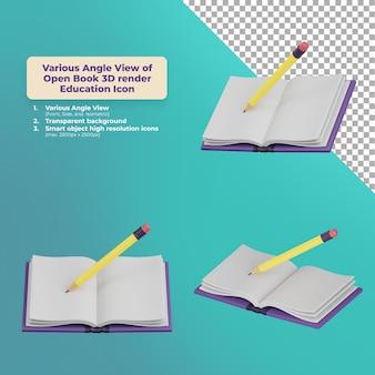 Различный угол обзора открытой книги 3d визуализации образования значок