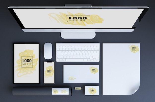 Various branding elements and devices mockup