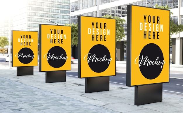 Various bus stops on the street mockup