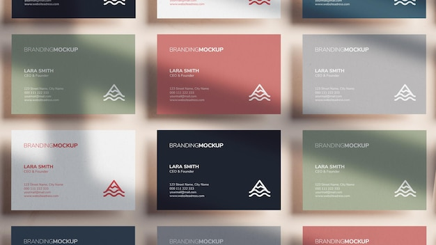 Various colorful business card mockup in 3d rendering