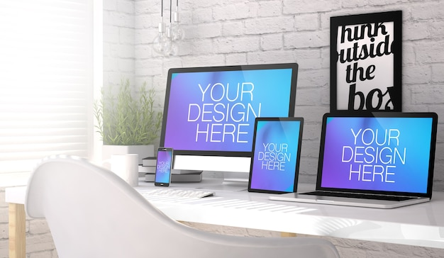 Various devices on a desktop mock up