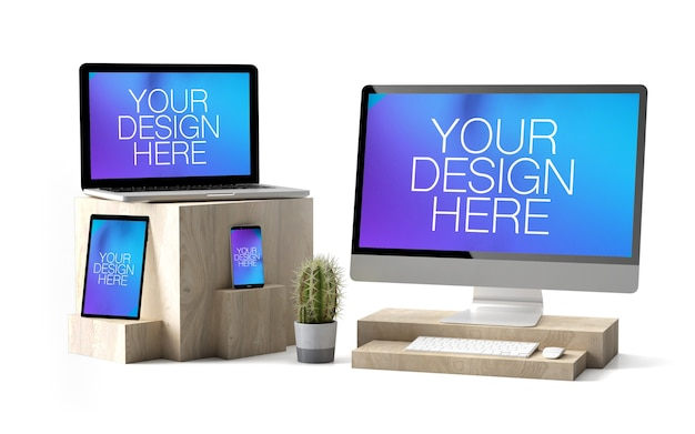 Various devices mockup on wooden cubes